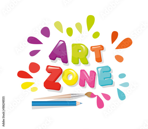 Art Zone Colorful Banner Cartoon Letters And Paint Splashes