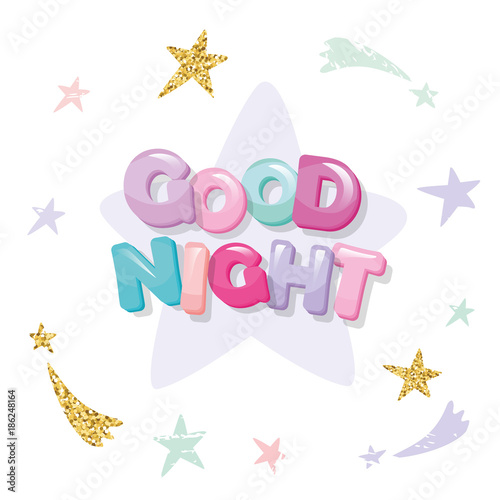 Canvas Prints Textures Good night cute design for pajamas, sleepwear, t-shirts. Cartoon letters and stars in pastel colors with glitter elements.