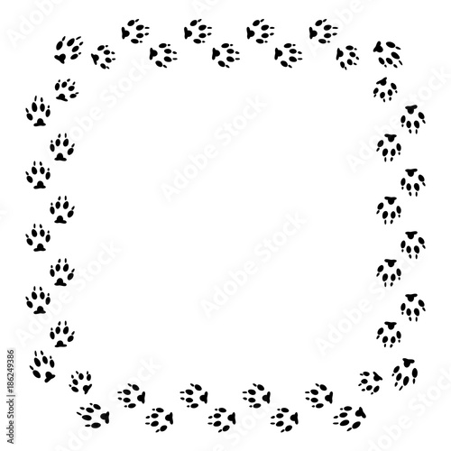 square frame with black dog track isolated on white background