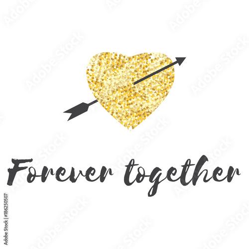 Fotografie, Obraz  Valentine or wedding together forever hand drawing heart poster vector card design