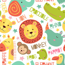 Seamless Pattern With Heads Of...