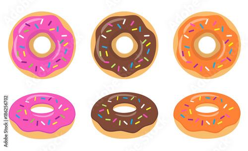 Colorful pink, chocolate, orange glazed donut set on white background Wallpaper Mural