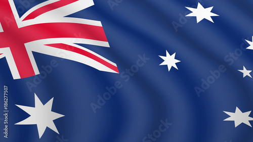 Photo Realistic waving flag of Australia