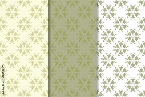 Fototapeta Olive green floral designs. Set of seamless patterns obraz na płótnie