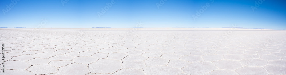 Uyuni Salt Flat panoramic view, world famous travel destination in the Andes, Bolivia, South America.