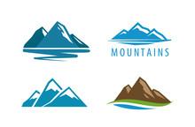 Mountain, Rock Logo. Vector Il...