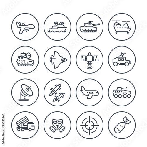 Photo army, military line icons set on white