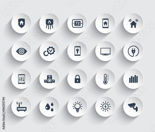Obraz na płótnie Smart house automation system icons set