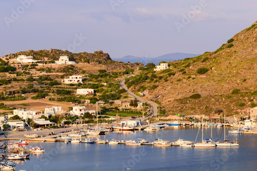 Beautiful view of the harbour village of Skala with its