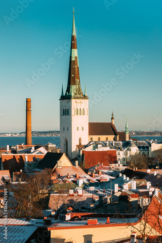 Tallinn, Estonia. Church Of St. Olaf Or Olav And Roofs Of Other Poster