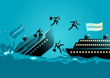 Businessmen Abandon Sinking Ship