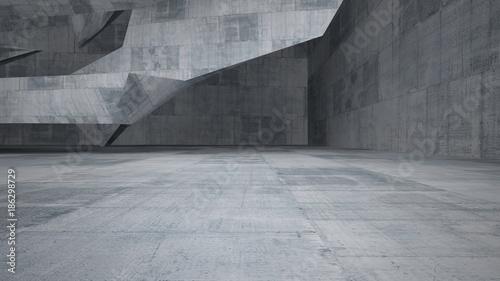 Abstrakcjonistyczna biała i betonowa wewnętrzna wielopoziomowa przestrzeń publiczna z okno. Ilustracja 3D i renderowania.