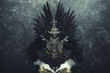 canvas print picture - Horror, dark gothic dress formed by a silver metal tiara and a golden corset, handmade costume