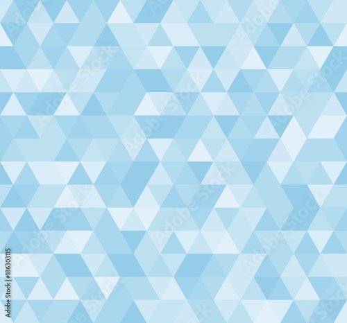 Seamless blue abstract pattern. Geometric print composed of triangles and polygons. Background. Wall mural