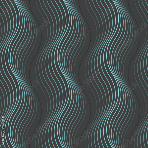 Fotografiet Vector dark seamless pattern with light blue waves.