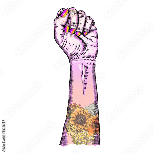 Woman S Hand Fist Raised Up Freedom Sign With Flowers Flash Tattoo