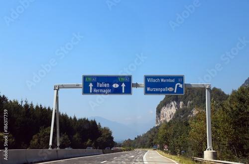 Road Sign in Austria near  Villach City