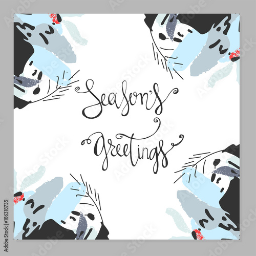 Season S Greetings Abstract Hand Drawn Calligraphy Card Design Creative Artistic Textures Background For Postcards Invitations Greeting Cards Banners