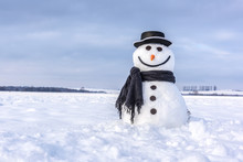Funny Snowman In Stylish Hat And Black Scalf On Snowy Field. Merry Christmass And Happy New Year!