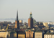 Old town and city hall tower in Stockholm, Sweden