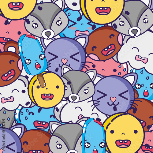 In de dag Regenboog cute kawaii faces expression background