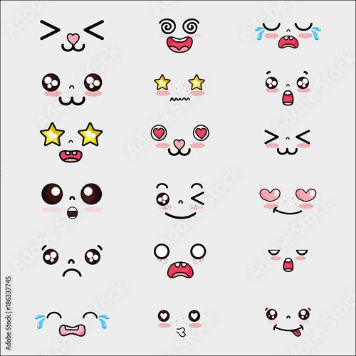 Fotografie, Obraz  set kawaii cute faces expression
