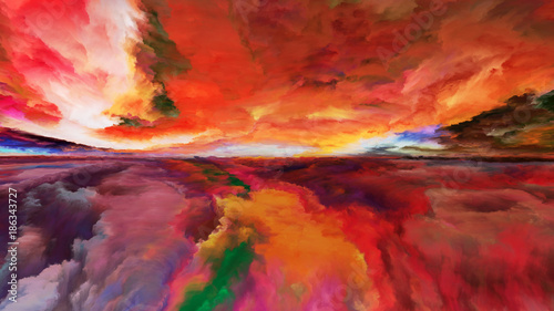 Keuken foto achterwand Rood traf. Illusion of Abstract Landscape