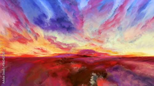 Foto op Canvas Rood paars Petals of Abstract Landscape