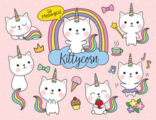Cute White Cat Unicorn With Ra...