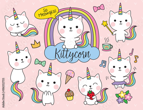 Fototapeta Cute white cat unicorn with rainbow horn and tail set including cute elements such as flower, ice-cream, cupcake, etc