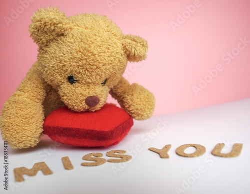 close up of cute brown teddy bear leaning on bright red heart