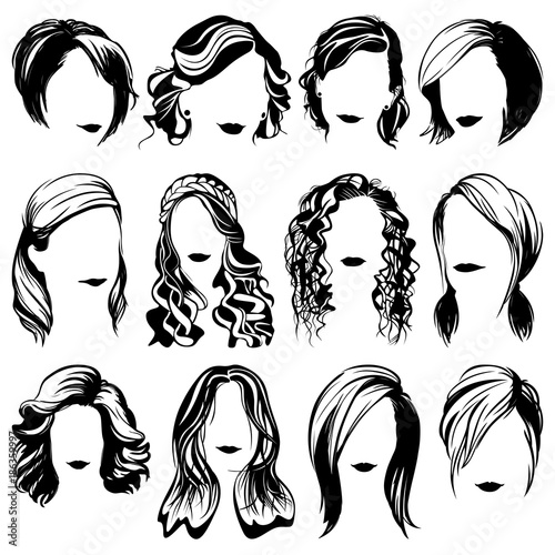 Fototapeta vector women fashion hairstyle silhouettes