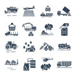 set of black icons agricultural machinery, equipment, farming