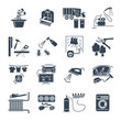 set of black icons household appliances, equipment, machine