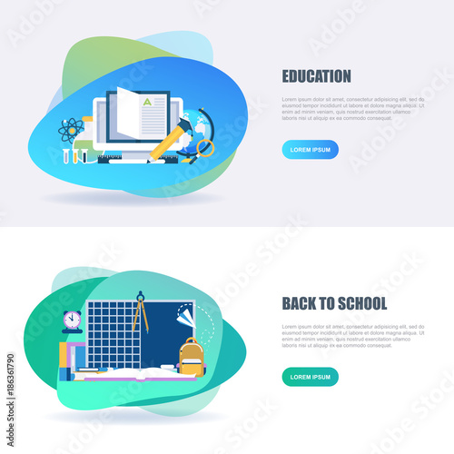 81f2c90fe3aa96 Flat concept web banner of online education