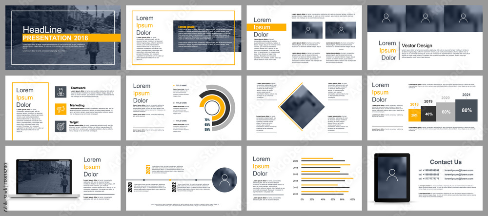 Fototapeta Business presentation slides templates from infographic elements. Can be used for presentation, flyer and leaflet, brochure, corporate report, marketing, advertising, annual report, banner, booklet.  - obraz na płótnie