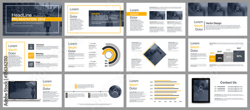 Fototapeta Business presentation slides templates from infographic elements. Can be used for presentation, flyer and leaflet, brochure, corporate report, marketing, advertising, annual report, banner, booklet.  obraz na płótnie