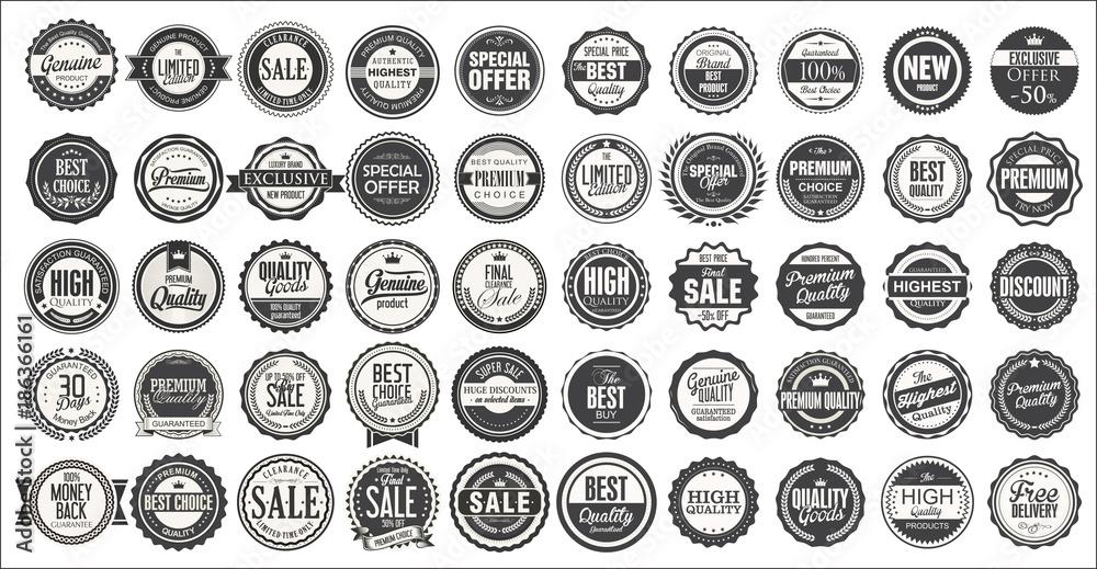 Fototapety, obrazy: Retro vintage badges and labels mega collection