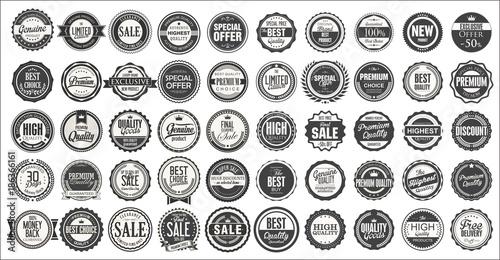 Fotografie, Obraz  Retro vintage badges and labels mega collection