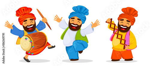 Fotografie, Obraz  Funny dancing Sikh man celebrating holiday, set