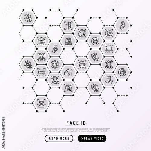 Face ID concept in honeycombs with thin line icons: face recognition, scanning, mobile authentication, approved, disapproved, face detect Canvas Print