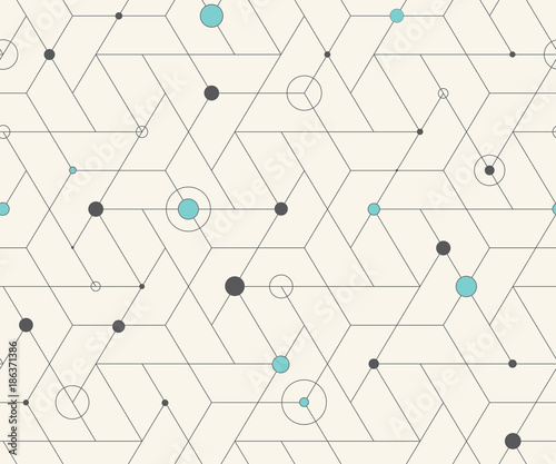 Geometric cubic grid seamless pattern