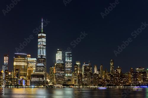 Fototapety, obrazy: Lower Manhattan Skyline at night, NYC, USA