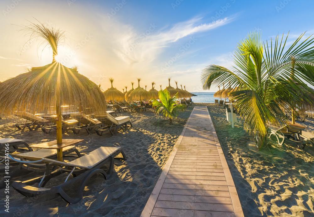 Fototapety, obrazy: Beach of Fanabe at Adeje Coast, Tenerife, Canary Islands, Spain