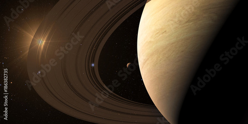 Fotografie, Obraz  planet Saturn along with its satellites in space, close-up 3D rendering