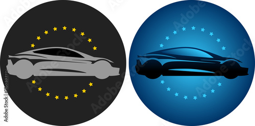 Valokuvatapetti logo badge rond cercle voiture sport course illustration (race sport car templat