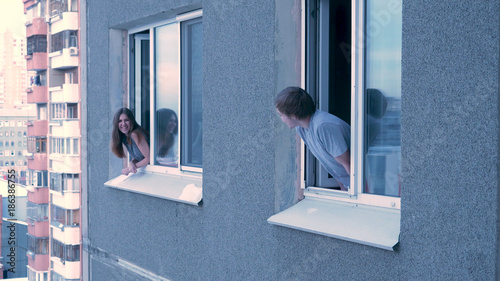 Fotomural Neighbors talk to each other from the window