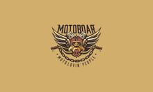 Pigs, Motorcycles, Motor Community, Motorcycle Handlebar, Metal, Chain, Helmet, Emblem Symbol Icon Vector Logo