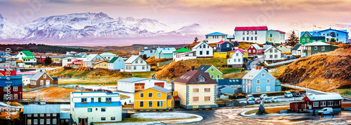 Платно Stykkisholmur colorful icelandic houses