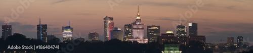 Fototapeta Night panoramic view of Warsaw skyline obraz